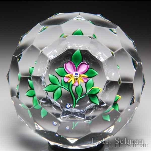 Bob Banford pansy and bud faceted glass paperweight. by Bob Banford