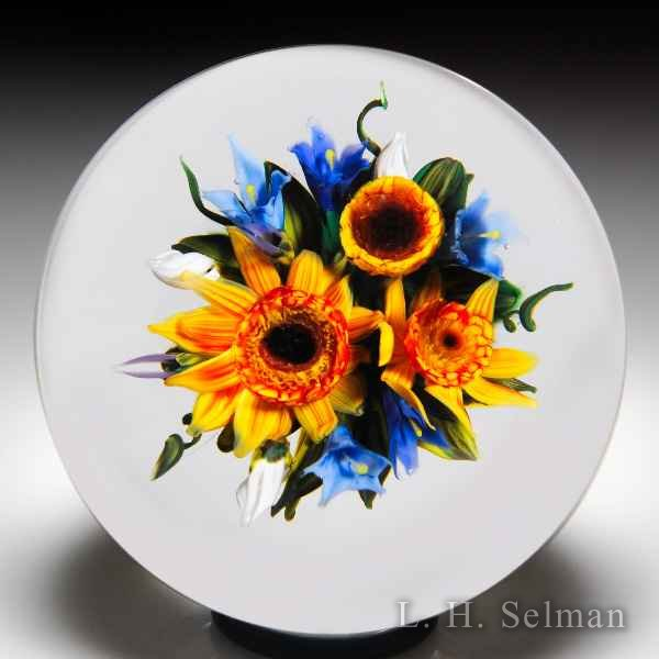 Melissa Ayotte 2017 sunflower bouquet glass paperweight. by Melissa Ayotte