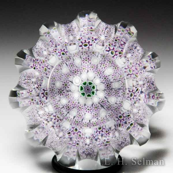Jim Brown 2016 lavender close concentric millefiori fluted faceted glass paperweight. by Jim D. Brown