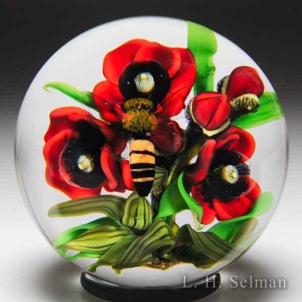 David Graeber 2017 red poppies and honeybee paperweight. by David Graeber