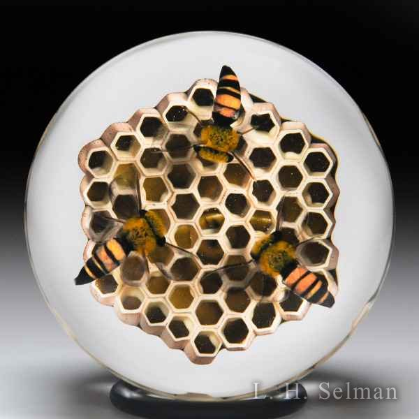 David Graeber 2017 honeybees and honeycomb faceted glass paperweight. by David Graeber