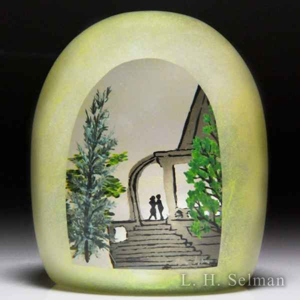 Alison Ruzsa (2017) 'Green Folly' couple and staircase green overlay high-domed glass paperweight. by Alison Ruzsa