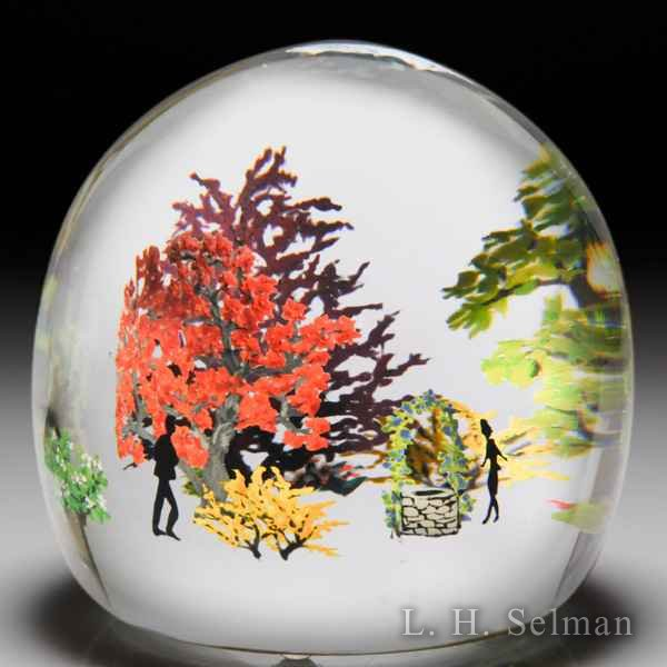 Alison Ruzsa 2016 'Wish a Wish' couple, well and trees compound glass paperweight. by Alison Ruzsa