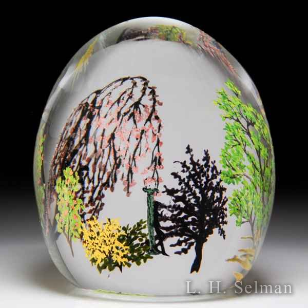 Alison Ruzsa 2015 'Tom Waits for No One' silhouette and trees compound glass paperweight. by Alison Ruzsa