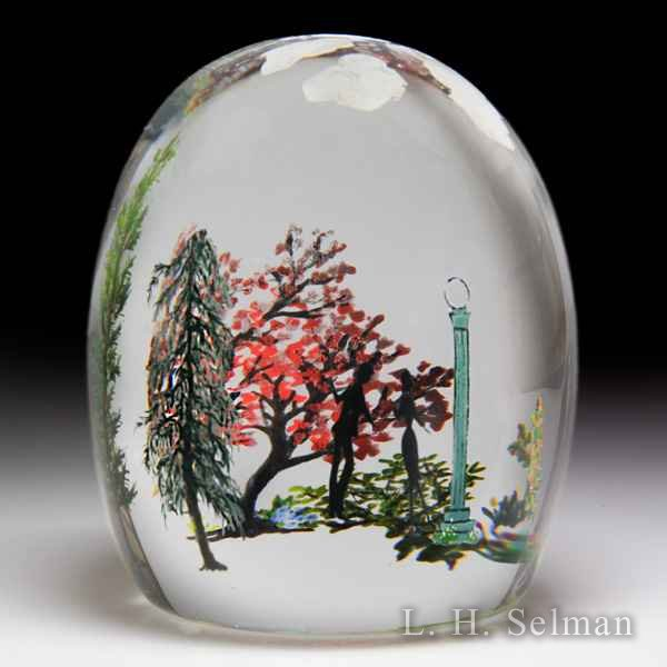 Alison Ruzsa 2017 'Meet Me at the Lamp Post' silhouettes with trees and clouds compound glass paperweight. by Alison Ruzsa