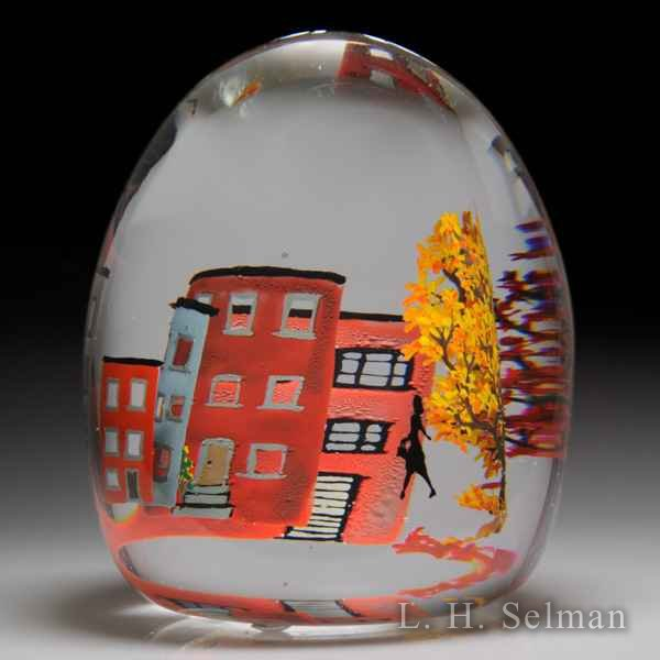 Alison Ruzsa 2017 'Big City Girl with Handbag/Autumn' silhouette, trees and buildings compound glass paperweight. by Alison Ruzsa