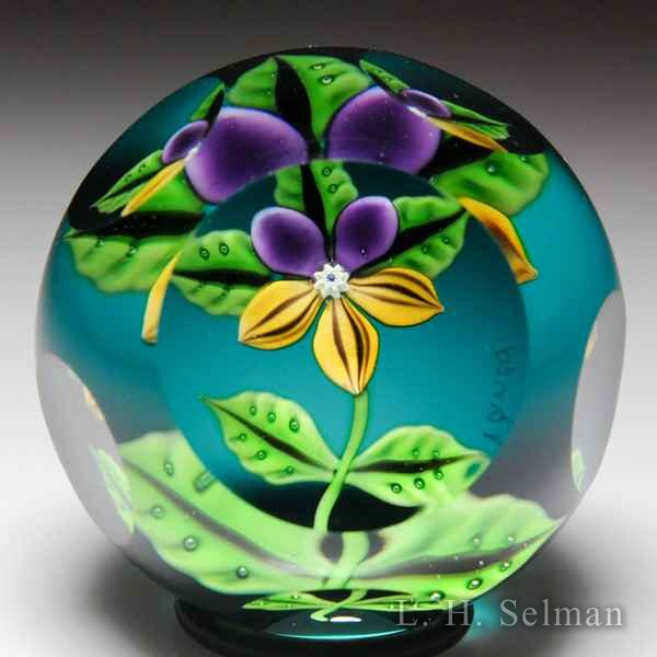 Caithness (1994) 'Pansy' faceted glass paperweight, by William Manson. by Caithness  Glass Inc