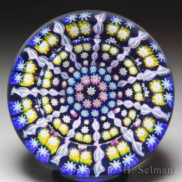 Perthshire Paperweights (1983-1997) patterned millefiori and twists faceted paperweight. by Perthshire Paperweights