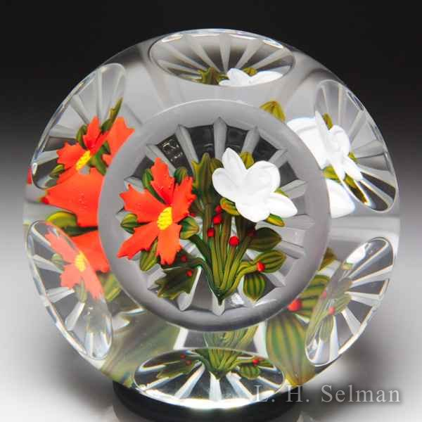 Peter McDougall (2011) limited edition Christmas bouquet faceted glass paperweight. by Peter McDougall