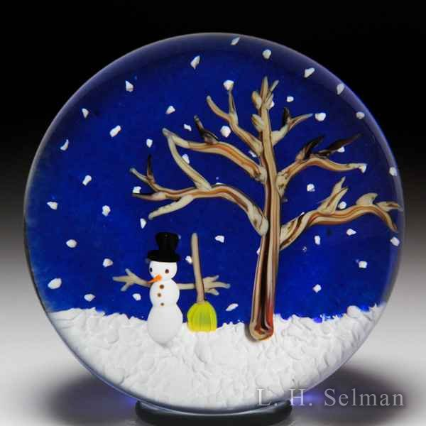 Bobbi Banford snowman and tree glass paperweight. by Bobbi Banford