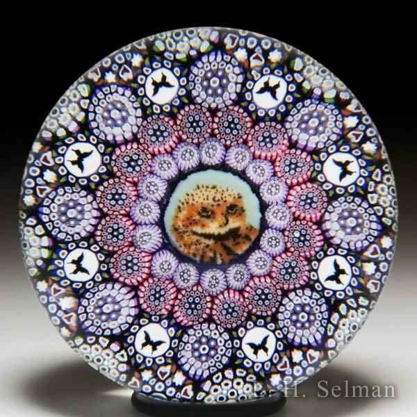 Mike Hunter 2017 owl murrina, close concentric millefiori and butterflies paperweight. by Twists Glass Studio