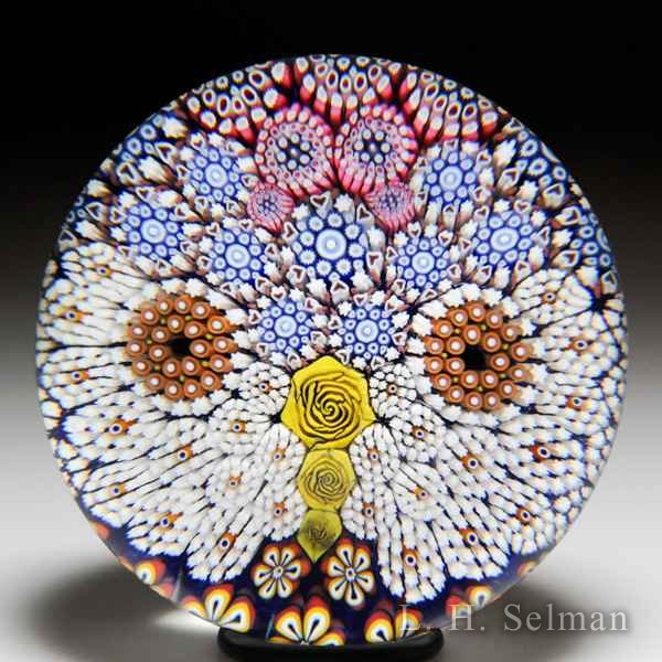 Mike Hunter 2017 owl face patterned millefiori glass paperweight. by Twists Glass Studio