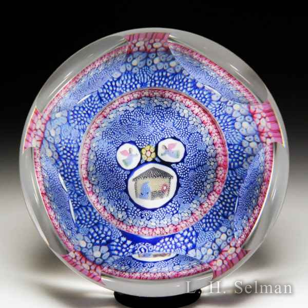 Whitefriars 1977 Christmas millefiori nativity scene faceted paperweight. by  WHITEFRIARS