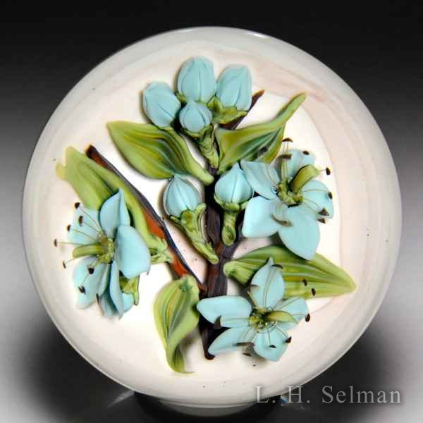 Clinton Smith 2017 'Celeste Blue Flowers' glass paperweight. by Clinton Smith