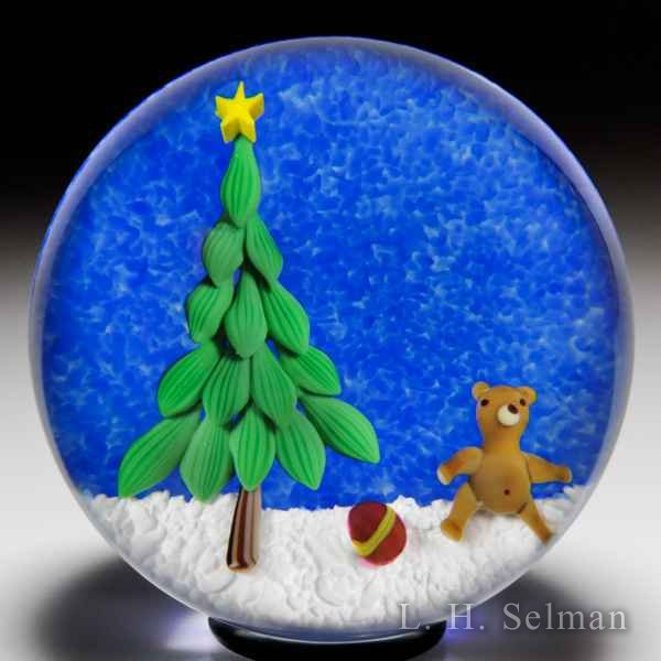 Bobbi Banford Christmas tree and bear glass paperweight. by Bobbi Banford