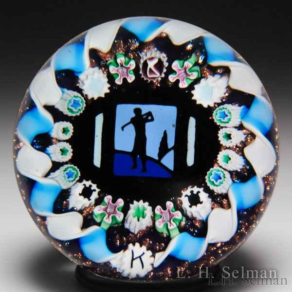 Charles Kaziun Junior golfer silhouette glass paperweight. by Charles Kaziun Junior