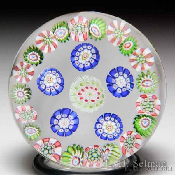 Antique Saint Louis spaced concentric millefiori miniature paperweight. by Saint Louis Antique