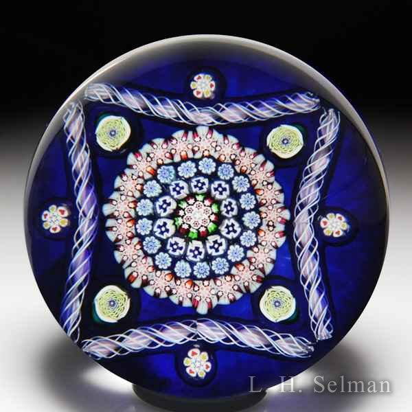 John Deacons 2017 square-patterned millefiori and twists glass paperweight. by John Deacons