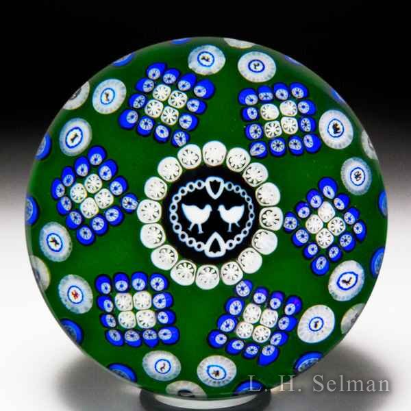 Baccarat 1976 Gridel lovebirds and patterned millefiori paperweight. by Baccarat Moderns