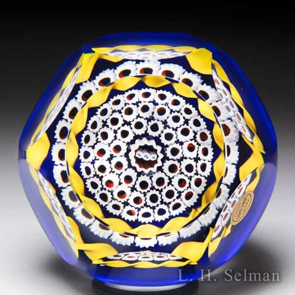 Saint Louis 1981 'Hostages' millefiori faceted glass paperweight. by  Saint Louis