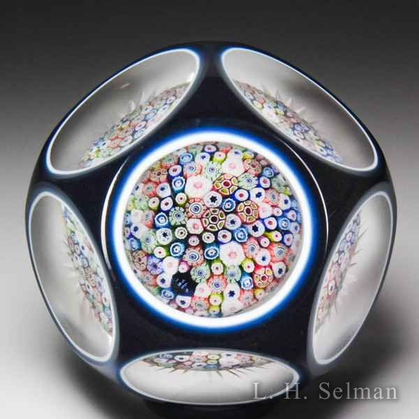 Saint Louis 1953 millefiori mushroom double overlay faceted glass paperweight. by  Saint Louis