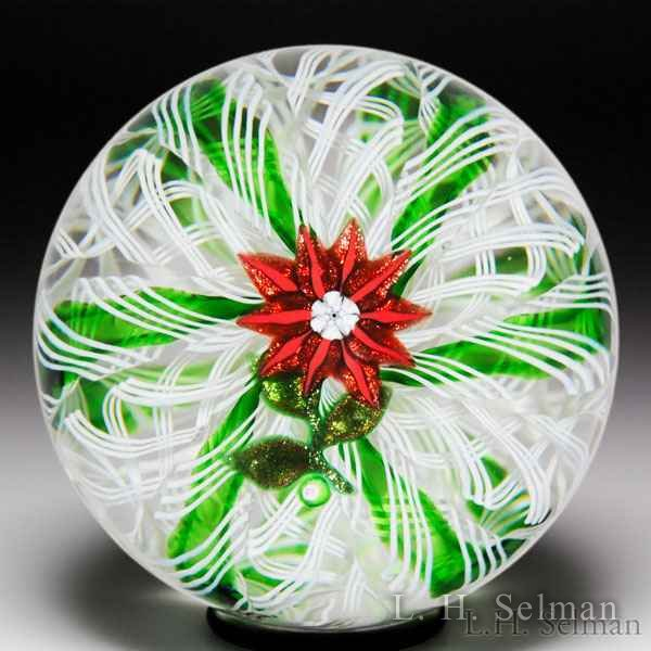 Paul Ysart red aventurine poinsettia crown cushion glass paperweight. by Paul Ysart