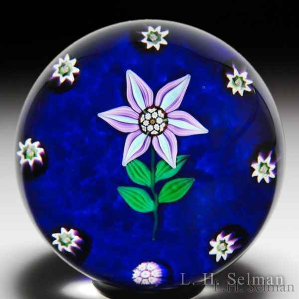 Paul Ysart Harland-era clematis and millefiori paperweight. by Paul Ysart