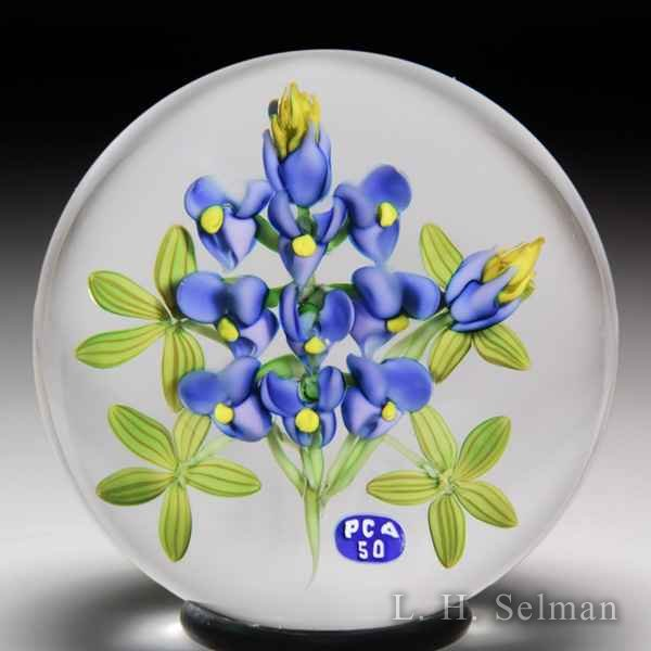 Ken Rosenfeld 2003 Paperweight Collectors Association 50th Anniversary violets glass paperweight. by Ken Rosenfeld
