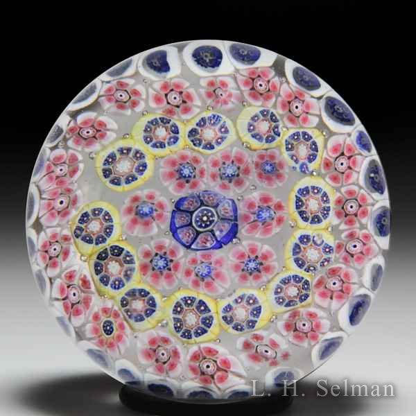 Antique New England Glass Company close concentric millefiori glass paperweight. by  American