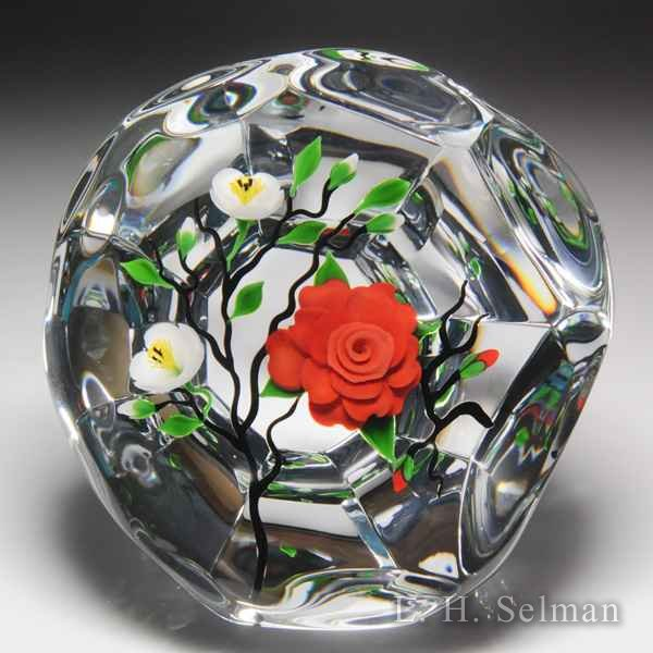 Victor Trabucco 1986 oriental red camellia branch upright magnum faceted glass paperweight. by Victor Trabucco