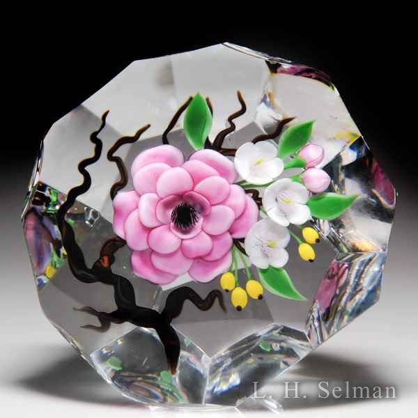 Victor Trabucco 1988 oriental satin pink camellia bouquet magnum faceted glass paperweight, from the Nature in Ice series. by Victor Trabucco