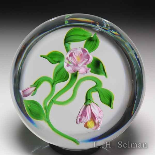Victor Trabucco 1982 camellias and bud glass paperweight. by Victor Trabucco