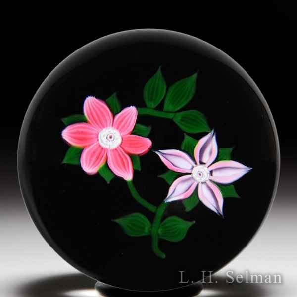 William Manson 1981 pair of pink clematis glass paperweight. by William Manson