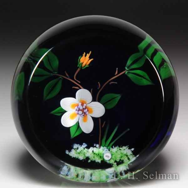 William Manson 2000 flower and vine upright faceted glass paperweight. by William Manson