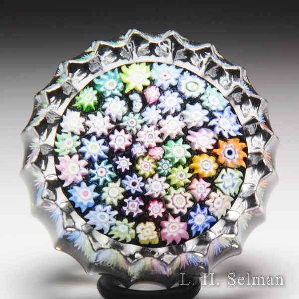 Peter McDougall close packed millefiori fluted miniature glass paperweight. by Peter McDougall