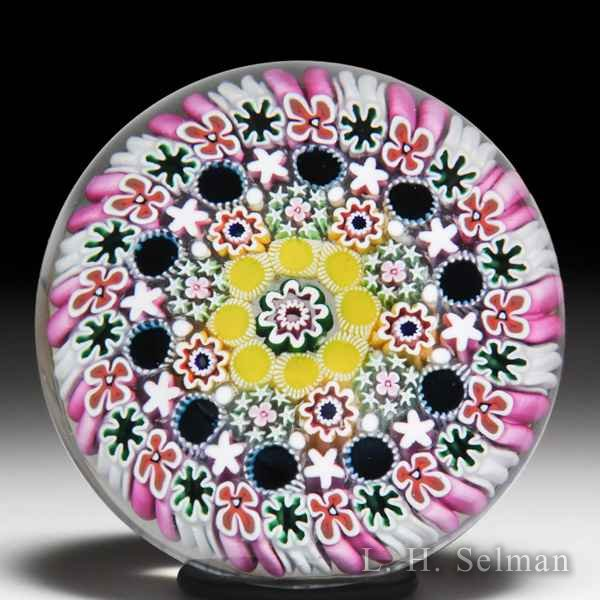Damon MacNaught 2018 close concentric millefiori glass paperweight. by Damon MacNaught