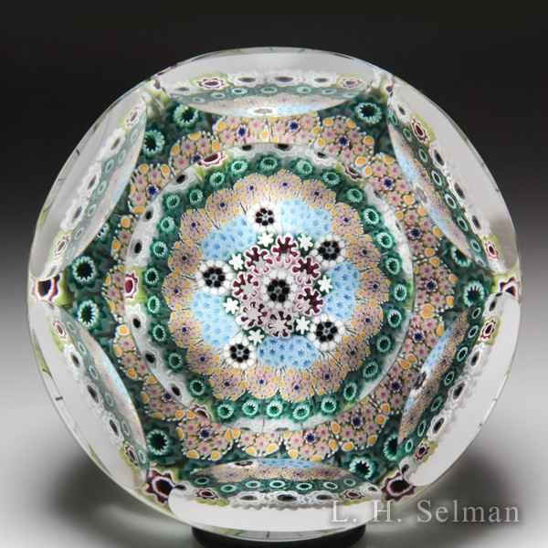 Damon MacNaught 2014 close concentric millefiori faceted glass paperweight. by Damon MacNaught