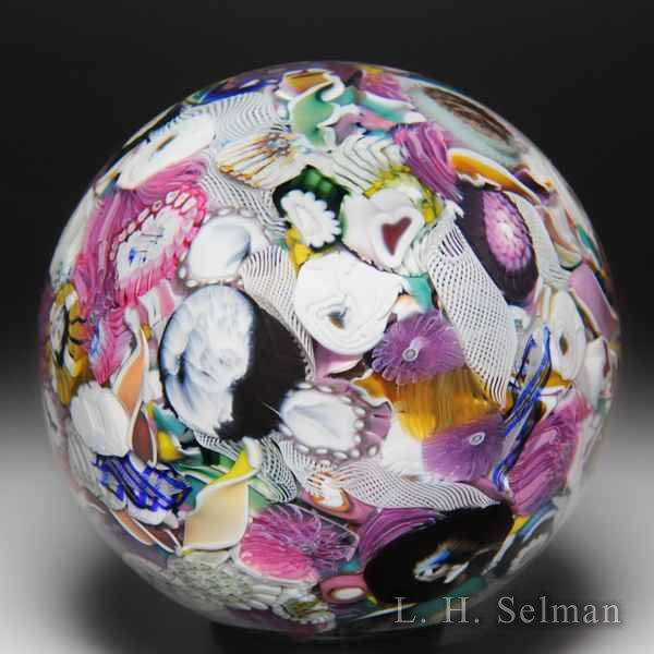 Mike Hunter 2018 murrine, silhouettes, roses scrambled millefiori glass paperweight. by Twists Glass Studio