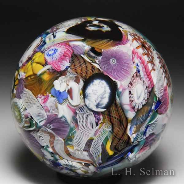 Mike Hunter 2018 murrine, silhouettes, pansies scrambled millefiori glass paperweight. by Twists Glass Studio