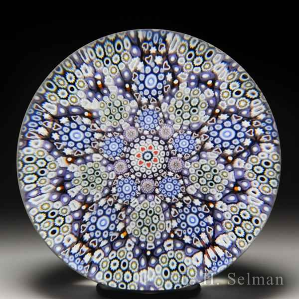 Mike Hunter 2017 patterned close packed millefiori paperweight. by Twists Glass Studio