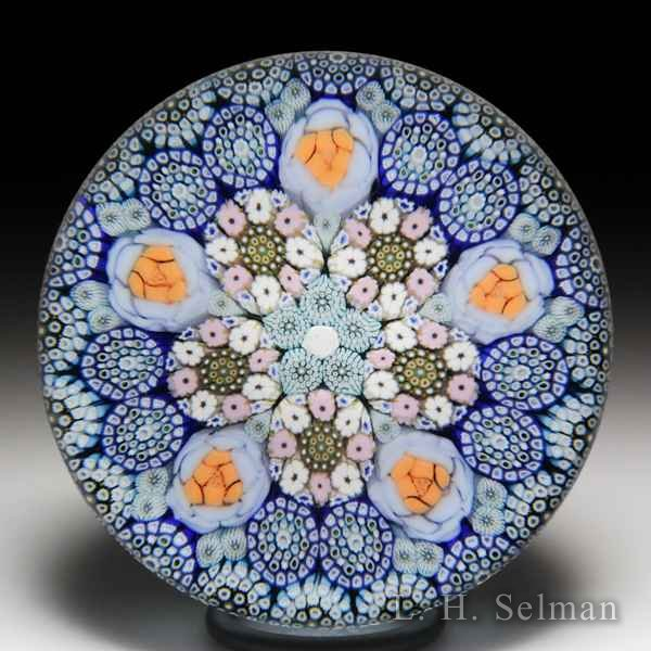 Mike Hunter 2018 close concentric millefiori and roses glass paperweight. by Twists Glass Studio