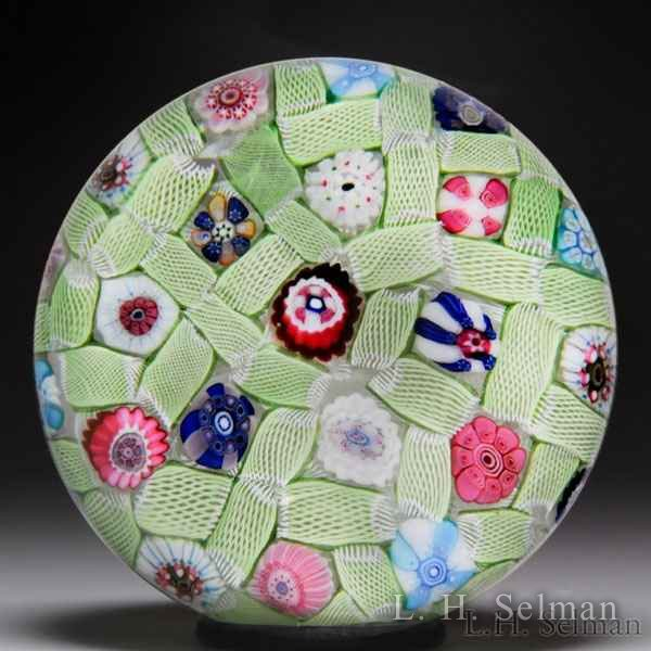 Rare antique Clichy millefiori green chequer glass paperweight. by  Clichy