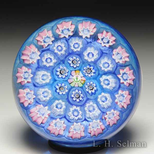 John Deacons spaced concentric millefiori miniature glass paperweight. by John Deacons