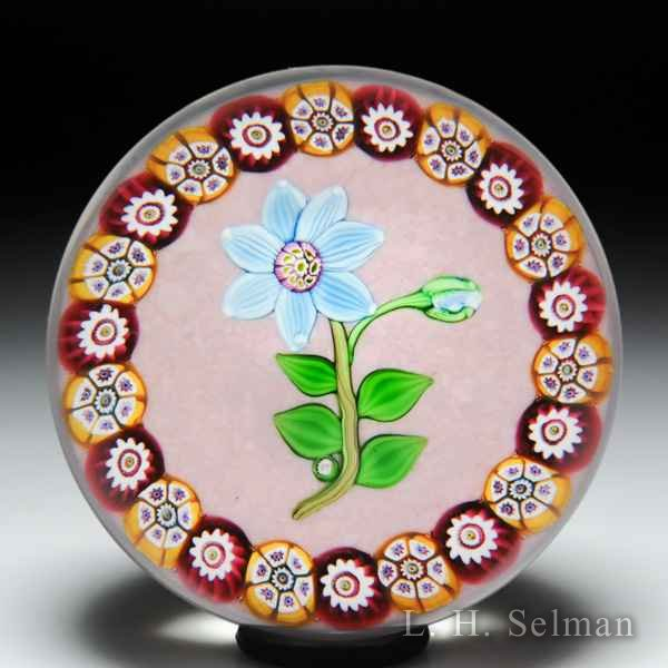 Paul Ysart blue clematis with millefiori garland glass paperweight. by Paul Ysart