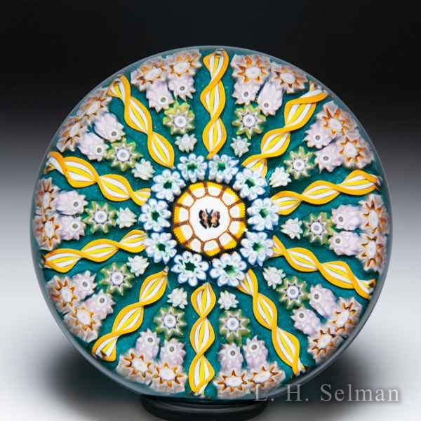 Perthshire Paperweights (1989-1997) butterfly cane and patterned millefiori paperweight. by Perthshire Paperweights
