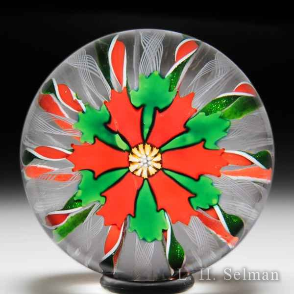 John Deacons 2001 Christmas poinsettia and crown glass paperweight. by John Deacons