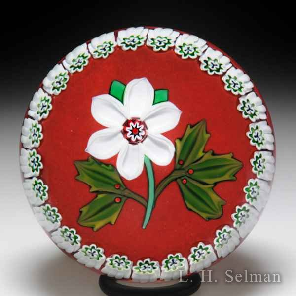 Peter McDougall (2008) Christmas rose and holly paperweight. by Peter McDougall