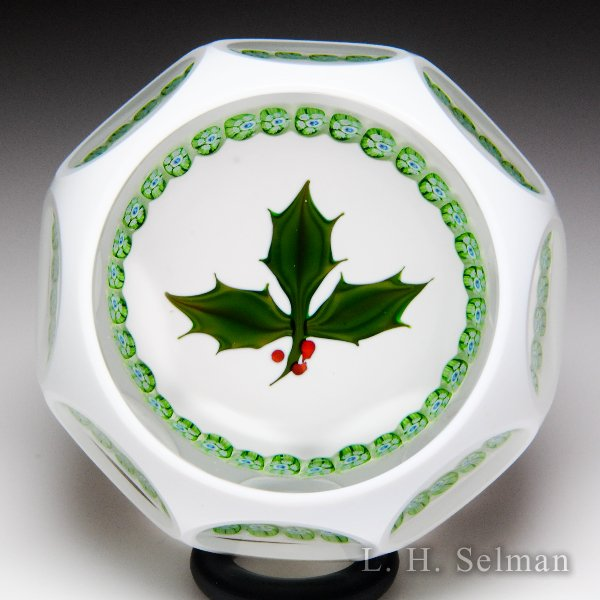 Perthshire Paperweights 1978 Christmas holly white overlay faceted glass paperweight. by  Perthshire Paperweights