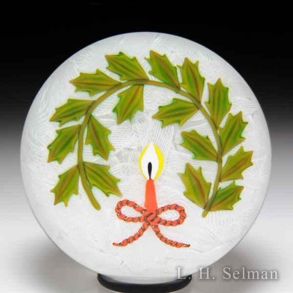 Peter McDougall 2009 Christmas candle and holly paperweight. by Peter McDougall