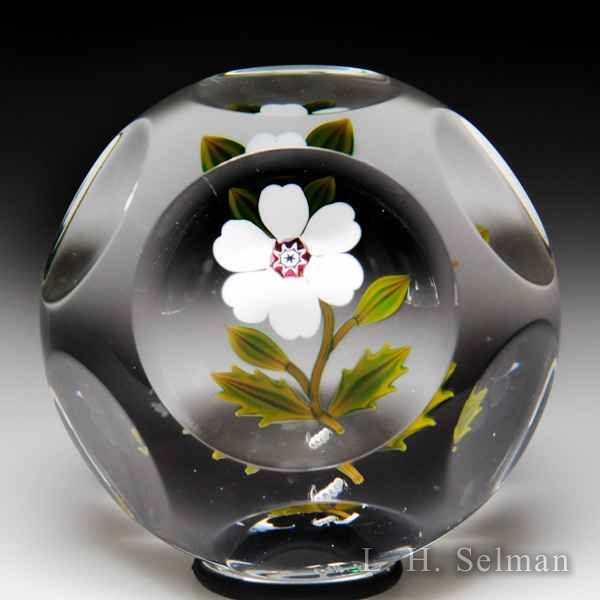 Peter McDougall Christmas rose miniature faceted glass paperweight. by Peter McDougall
